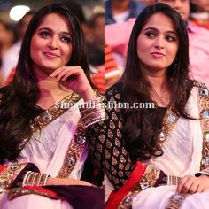Anushka in white saree and full sleeve blouse for Bahubali audio launch recently held at Tirupathi