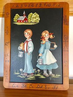 Vintage Signed School Days Chalkboard Painting by Maxine