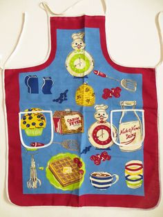Nick & Nora Apron, Cabin Fever Syrup Full Bib Apron, Retro Kitchen Accessory, Nostalgia Food Designs by TomCatBazaar on Etsy