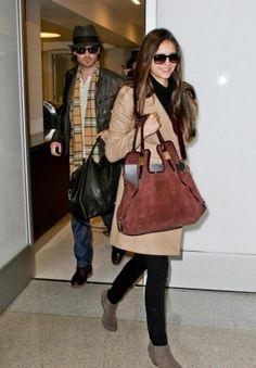 Nina Dobrev & Ian Somerhalder arriving in Shanghai #airport #celebrity #style #fashion #actress #looks #travel