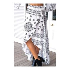 Yoins White Tribal Print High Waist Maxi Skirt ($17) ❤ liked on Polyvore featuring skirts, white skirt, white high waisted maxi skirt, white maxi skirt, bohemian skirts and white high waisted skirt