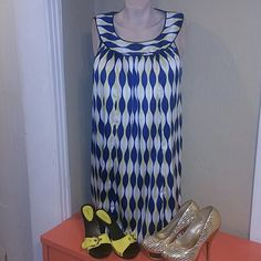 Beautiful flowing dress Yellow dark blue and white print silky feeling sleeveless retro style dress. Very comfortable 97% polyester 3% spandex Style & Co Dresses Midi