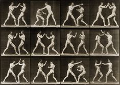 Animal locomotion showing two men boxing in 12 frames, taken in 1887 by Eadweard Muybridge. Composite of 12 photoprints copyrighted by Eadweard Muybridge. No. 336.