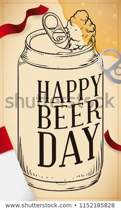 Festive retro poster with hand drawn beer can, loose-leaf paper, streamers and ring pull over the poster, all elements of a Beer Day celebration. Beer Day, Paper Streamers, Old Soul, Mug Designs, Hand Drawn, Festive, Celebration, How To Draw Hands, Royalty Free Stock Photos