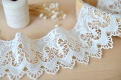 off white cotton lace trim  crochet cotton lace by Lacefabricstore