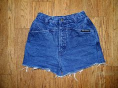 Vintage Denim Cut Offs - Vintage 80s/90s Dark Wash Blue Jean Shorts - High Waisted Cut Off/Frayed Short Shorts/Daisy Dukes - Size 3/4 5/6. $10.00, via Etsy.