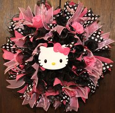 Hello Kitty Inspired Polka Dot Deco Mesh Wreath by WreathsByJeanZ