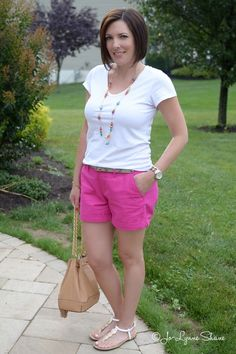 Fashion Over 40: Shorts for Moms This cute necklace really pulls this summer outfit together! Jo Lynne Shane