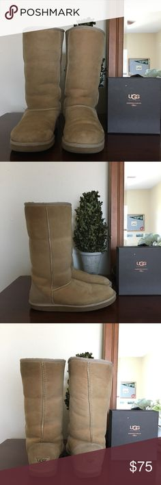 UGG Boots and UGG Care Kit Tall UGG boots in great condition! UGG care kit comes with this purchase! UGG Shoes Winter & Rain Boots