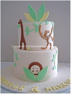 Ch 139 Zoo Animal Theme Christening Birthday Cake