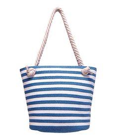 Look at this #zulilyfind! Blue & White Stripe Straw & Rope Tote by Boardwalk Style #zulilyfinds