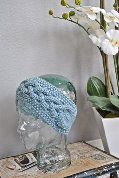 knit headband Sea Blue tapered back silk bamboo yarn cable pattern with border handmade original wide soft stretchy and luxurious