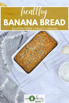 Looking for a healthy banana bread recipe?  Here it is, this gluten-free banana bread is healthy and easy to make!  Made with honey (or coconut sugar to make it a vegan banana bread recipe) and ripe bananas it's soft and moist and the perfect recipe to serve for breakfast!  Ana Ankeny - Healthy Recipes