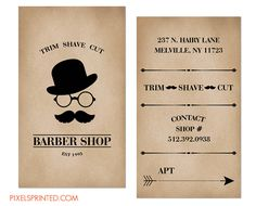 barber shop business cards, vintage barer shop business cards, traditional barber business cards