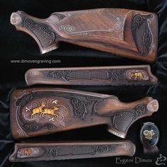 wire inlay on gun stock Gun Art, Shooting Guns, Custom Guns, Metal Engraving, Hunting Rifles, Firearms, Shotguns, Wood Carving, Hand Guns