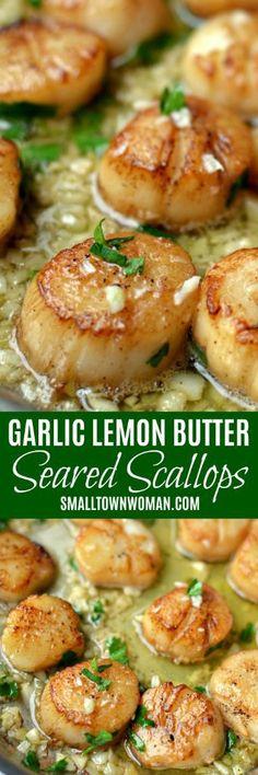 Seared Scallops with Garlic Lemon Butter - Seared Garlic Lemon Butter Scallops Shellfish Recipes, Seafood Recipes, Cooking Recipes, Healthy Recipes, Dishes Recipes, Dinner Party Recipes, Brunch Recipes, Appetizer Recipes, Seafood Appetizers