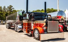 Tricked Out Semi Trucks | Peterbilt Tractor Trailer Semi Big Rig Custom Tuning Wallpaper ...