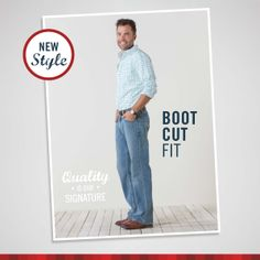 Signature by Levi Strauss & Co.™ Boot Cut Fit has a straight fit through the seat and thigh and boot cut leg openings.