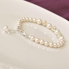 Bridal Bracelet, Rhinestone Pearl Wedding Bracelet. White Pearl Bracelet for the Bride. Bridesmaid Bracelet. Wedding Jewellery. $46.00, via Etsy.