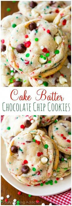 It's cookie season! These Cake Batter Chocolate Chip Cookies couldn't be more fe… It's cookie season! These Cake Batter Chocolate Chip Cookies couldn't be more festive. Check out the Greatest Holiday Cookie Recipes Ever Holiday Cookie Recipes, Cookie Desserts, Holiday Desserts, Holiday Cookies, Just Desserts, Delicious Desserts, Yummy Food, Tasty, Christmas Recipes