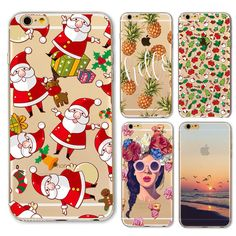 New Christmas Panda Pineapple Girl Case for iphone 6 6s Plus 6Plus 5 5s SE soft silicone Protector Cover fundas bag capa Cases