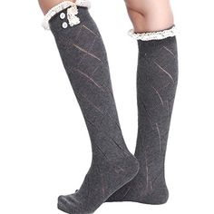 Cityelf Womens Cotton Knit Crotchet Lace Buttons Leg Warmers TTWZ0014 darkgrey *** More info could be found at the image url.