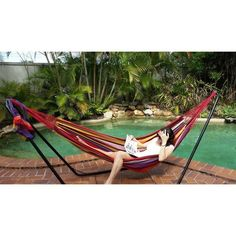 large outdoor canvas hammock in red multi colour   buy hammocks medium outdoor canvas hammock in blue and yellow   buy hammocks      rh   pinterest