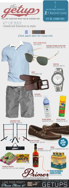 This is more stuff than clothes. Ha ha but good looks. The Getup: 4th of July | Primer