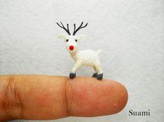 Micro Mini Amigurumi Reindeer - Teeny Tiny Crochet Miniature Animals - Made To Order via Etsy $58