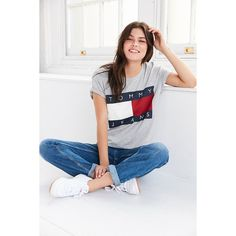 Tommy Jeans For UO 90s Tee (69 NZD) ❤ liked on Polyvore featuring tops, t-shirts, cut-out crop tops, tommy hilfiger t shirts, gray tees, knit crop top and boxy tee