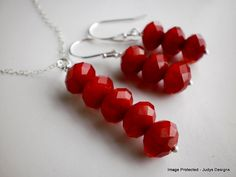 Red necklace earring set sterling silver Valentine by JudysDesigns, $45.00