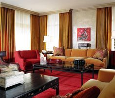Lake Shore Drive Condo Living Room::Deb Reinhart Interior Design Group:: gold, red, crown molding, cornice, asian living room,