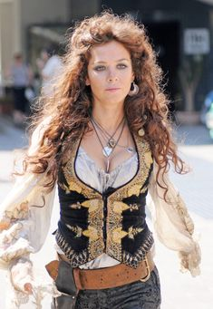 The chemise embroidery is lovely. The jewelry is a nice touch. The vest may be a nice touch under coat and over underbust corset...