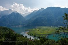Lago di Mezzola Lake landscape. Water and mountains. Lombardy Italy Europe. by lenoni