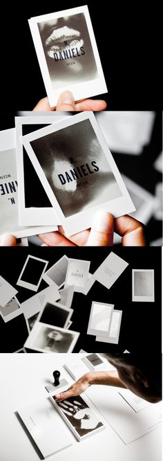 Interactive Thermosensitive Photo Business Card For A Photographer These exceptionally clever business cards have been printed with a thermosensitive varnish. The plain black of the varnish turns to various shades of grey as the card warms up and finally to white at body temperature. This means that when a client holds the card they can create their own picture just by warming the card with their hands (or lips!).