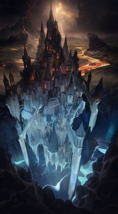 Find images and videos about fantasy and castle on We Heart It - the app to get lost in what you love. Fantasy City, Fantasy Castle, Fantasy Places, Fantasy Kunst, Fantasy World, Fantasy Concept Art, Dark Fantasy Art, Fantasy Artwork, Anime Art Fantasy