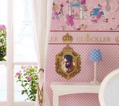 NEWROOM Kindertapete rosa Krone Prinzessin Kinder Vliestapete Vlies Kindertapete Kinderzimmer Babytapete Babyzimmer M/ärchen