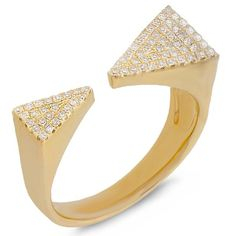#Valentines #AdoreWe #Allurez - #Allurez 0.22ct 14k Yellow Gold Diamond Pave Triangle Ring - AdoreWe.com