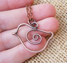 Bird Necklace. Copper. Oxidized. Wire by Karismabykarajewelry