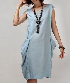 Side Pockets Linen Dress-zeniche.com SKU ab0184