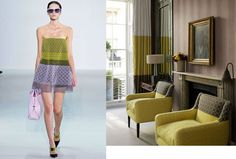 Look to fashion for drapery and decor inspiration. Love the color blocking on the drapes and even the chairs!!  Christian Dior Spring 2013 RTW and Elle Decor