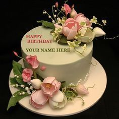 Write Your Name On Flower Decorated Cake With Namepic - Geburtstagswünsche Frauen Write Name On Cake, Birthday Cake Write Name, Birthday Cake Writing, Birthday Wishes Cake, Bithday Cake, Happy Birthday Flower, Birthday Cake With Flowers, Cake Name, Birthday Cake With Candles