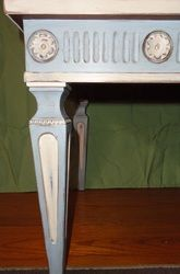 End table done In Annie's Old White and Louis Blue with clear and dark wax and a bit of stenciling