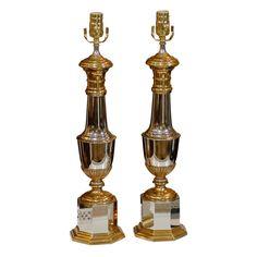 1stdibs.com   PAIR OF MID C STEEL & BRASS LAMPS