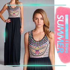 """SUBLIMATION TANK/MAXI DRESS Beautiful colors in this sublimation tank top and solid bottom maxi dress. Skirt is black and made of rayon/ modal. Great for spring and summer, perfect travel piece!                                         ♦️SMALL: Bust 35"""" length 60.5""""                                             ♦️MEDIUM: Bust 36.5"""" length 61""""                             ♦️LARGE: Bust 38"""" length 61.5"""" tla2 Dresses Maxi"""