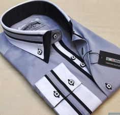 Shirt Up! Menswear Sail Away grey business Mens shirt SLIM FIT