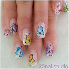 39 Butterfly Nail Art Designs You Will Like Butterfly Nail Designs, Butterfly Nail Art, Nail Art Designs, Butterfly Wedding, Fancy Nails, Cute Nails, Pretty Nails, My Nails, Elegant Nail Art