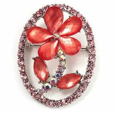 Daisy In The Oval Frame Pink Crystal Brooch (Silver Tone) Avalaya. $13.95. Metal Finish: rhodium plated. Theme: floral, daisy. Gemstone: diamante. Material: plastic. Occasion: mothers day, cocktail party, casual wear