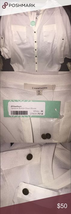 41Hawthorn white shimmer button down 8 sheer Classic and beautiful $58 BRAND NEW WITH TAGS (I took them off and was going to wear and then changed my mind last minute) STITCH FIX piece.  It fits true to a size 8/M and has a really nice fit with the V neck cut neckline and a sheen/sheer 100% polyester fabric.  This blouse is cut the same length around front to back. You won't be disappointed!  Wear to work with business, business casual, your holiday party or date night.  This is that classic…