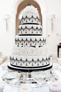 Indian Weddings Inspirations. Black and White Wedding Cake. Repinned by #indianweddingsmag indianweddingsmag.com